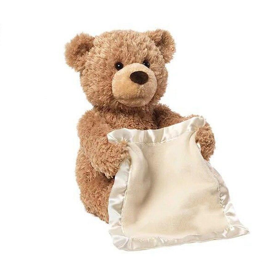 Encantador Dos Desenhos Animados Peek Boo Bear Jogar Hide And Seek 30 cm de Pelúcia Crianças Presente de Aniversário UMA Música Bonito Elefante brinquedo de pelúcia