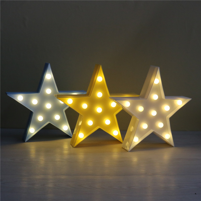 Lovely 3D Five-point Star LED Night Light Table Marquee Christmas Festival Home Decor Battery LED Lamp Birthday New Year Gifts