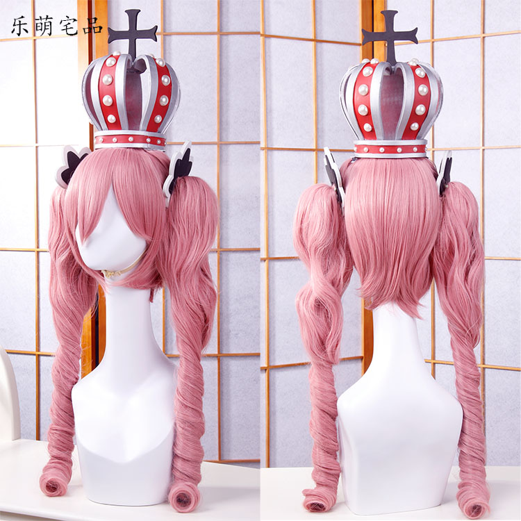 Anime One Piece Cosplay Wig Ghost Princess Perona Pink Long Curly Wavy Ponytails Synthetic Hair Adult Pigtail