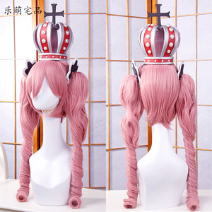 Image 1 - Anime One Piece Cosplay Wig Ghost Princess Perona Pink Long Curly Wavy Ponytails Synthetic Hair Adult Pigtail