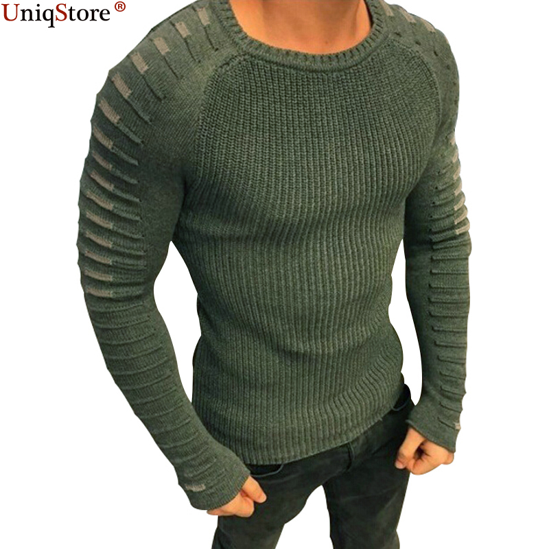 Uniqstore Men Casual Warm Slim Sweater Knitted Striped Long Sleeve Patchwork Pullover Male Elastic Solid Sexy Spring Basic Tops