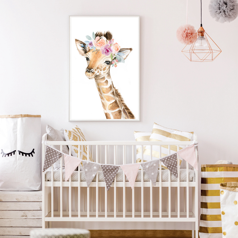 animal giraffe canvas art print decor