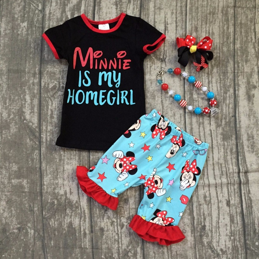 Exclusively baby girls summer clothing children minnie is my home girls summer clothing top with summer shorts with accessories summer baby girls hot pink sunglasses minnie is my homegirl mouse balls shorts clothes outfits boutique matching accessories