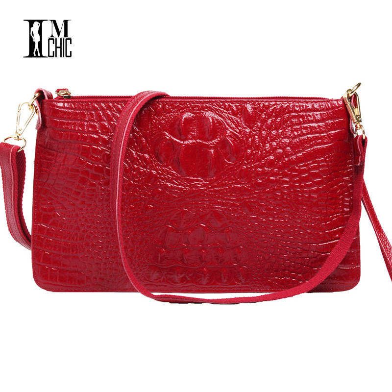 IMCHIC Women Clutch Bags Vintage Split Leather Crocodile Pattern Envelope Shoulder Ladies Small Messenger Handbag Female