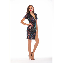 Sexy Sequined Glitter Night Club Dresses Black Mini Turn Down Collar Slit Women Summer Bodycon Dresses Short Sleeves Party Dress