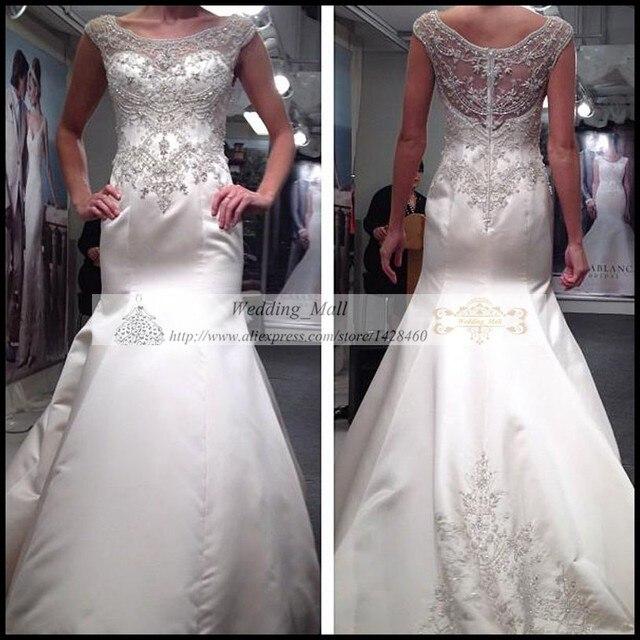 Vintage White Wedding Dresses Mermaid 2017 Scoop Silver Beaded Spring Women Bridal Gowns Vestidos De Noiva
