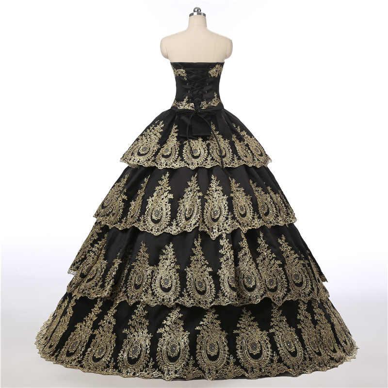 Princesa ouro e preto vestido de baile renda quinceanera vestido 2017 com saia em camadas e jaquetas festa vestidos de baile