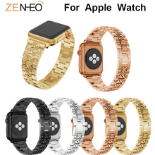 Jewelry Band For Apple Watch link Bracelet Series 4 3 2 1 38mm 42mm for iWatch Wristband 44mm 40mm buckle strap Accessories цена