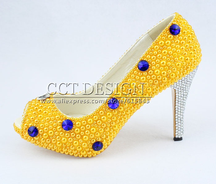 free shipping peep toe blue diamond and yellow pearls wedding bridal high heels shoes yellow evening party prom pumps