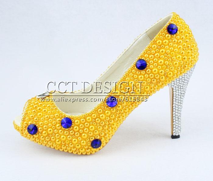 Free Shipping Peep Toe Blue Diamond And Yellow Pearls