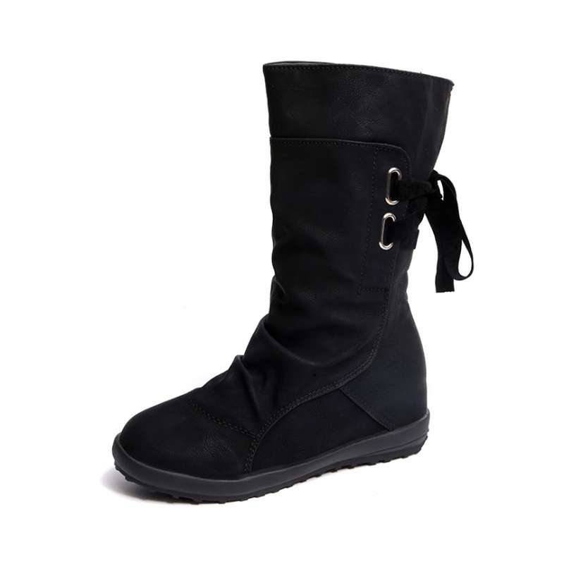Woman Shoes Snow-Boots Platform Slip-On Brown Grey Black Winter Heel Warm Knee Plush