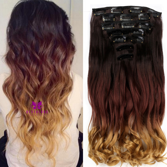 Neverland 20 Synthetic Hair Ombre 3 Colors Curly Wavy Style Dip Dye