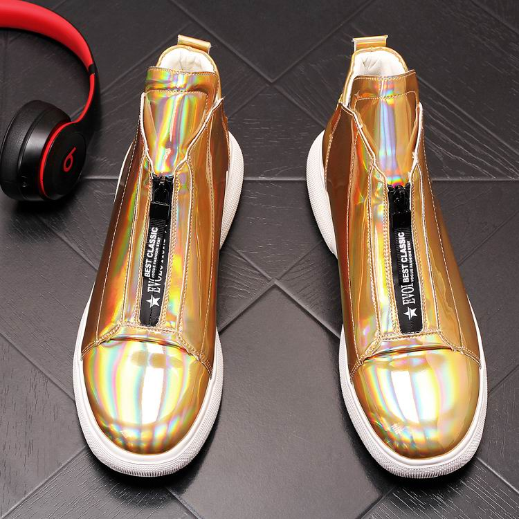 ERRFC Luxury Men's Gold Leisure Shoes Fashion Designer High Top Zip Man Casual Comfort Shoes For Show White Vogue Party Shoes 43 8