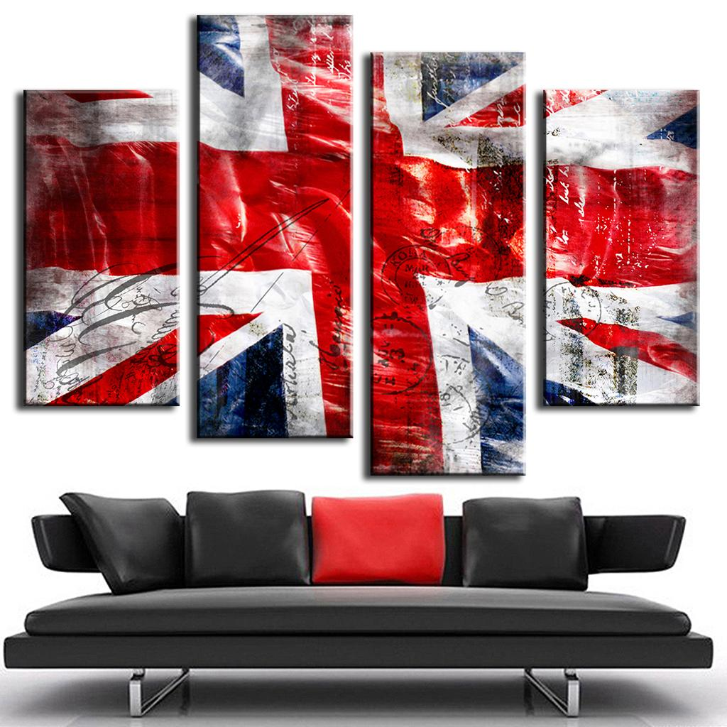 Hot 4 Pcs Set Combined Wall Art Painting Print On Canvas Red Blue Union Jack