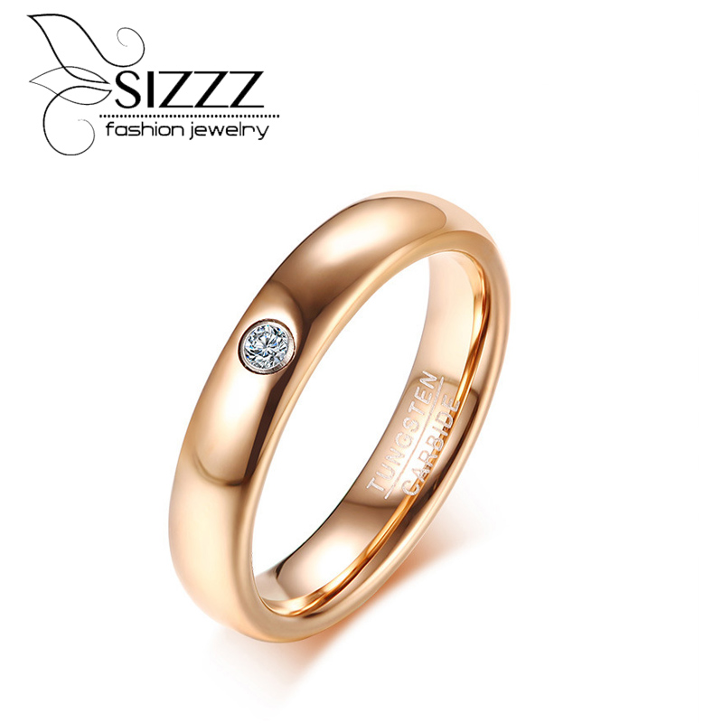 SIZZZ New listing width 4MM inlay single zircon tungsten steel lady rose gold ring for women