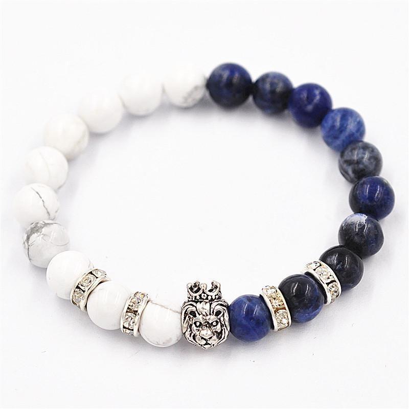 Natural White Lapis Lazuli Beads Bracelets Bracelet Crown Lionhead Retro Pendant Gift Bracelets Jewely