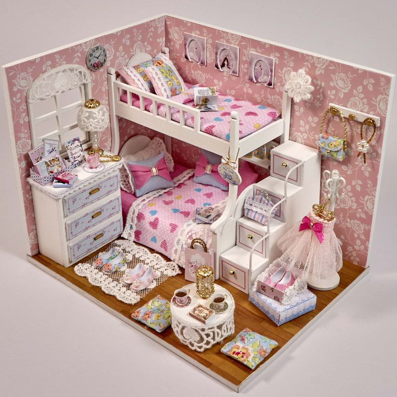DIY Dream Angle Handmade Assembling Wooden Dollhouse Miniatures Home Decoration Building Model Furnitures Gift for Kids Toy Doll 2