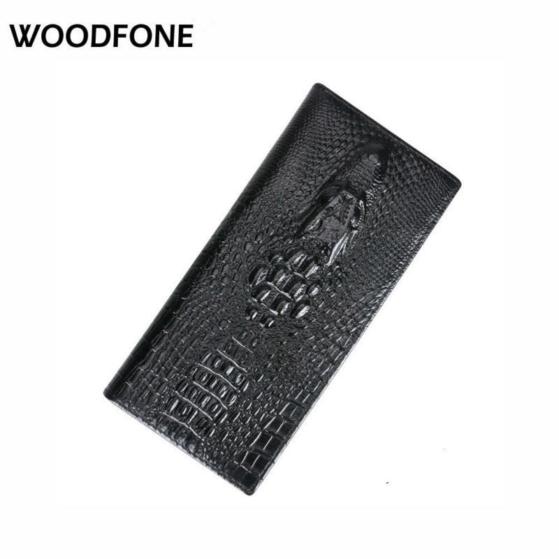 DKER Original Split Leather Women Wallet Crocodile Head Cow Leather Wallet Fashion Women Purse 3D Long designer Money Clip