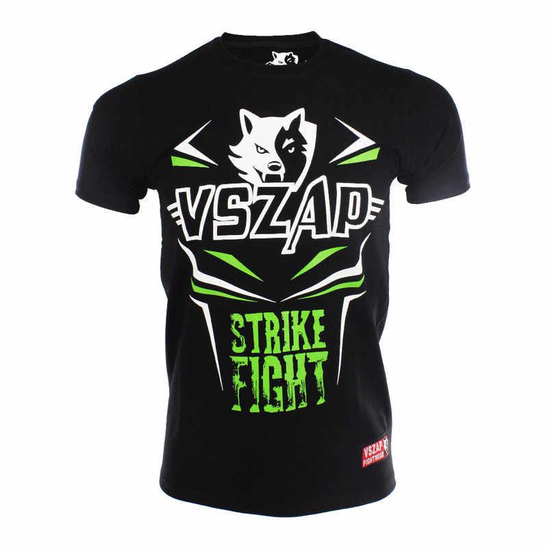 Vszap Strike Fight 2 Warna Kapas MMA Melawan Lengan Pendek Tiger Rekreasi Kebugaran Pelatihan Olahraga Thai Boxing Kaus