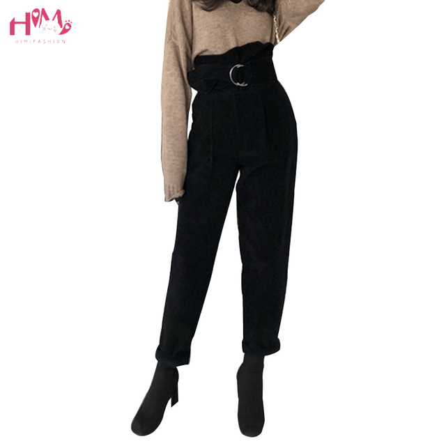 Autumn Winter Women Corduroy Pants Korean Fashions High Waist Harem Pants with Sashes Casual Solid Color Trousers Cargo Pants