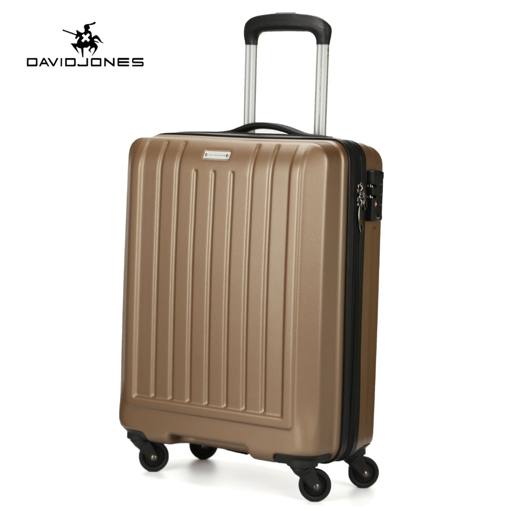 DAVIDJONES wheel travel suitcase carry on trolley bag spinner cabin large luggage bag girl vintage suit case box 20 inch trunk