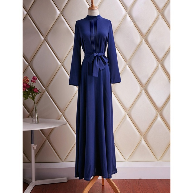 Brief Women s Long Sleeve Cotton Blend Blue Dress Evening Party Full Length  Maxi Gown Dresses S4 15af7e087f81