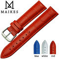 MAIKES New Fashion Genuine Leather Watchbands 16mm 18mm 20mm 22mm Red Bracelet Belt Watch Strap Band Case For Brand