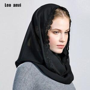 Image 2 - Leo anvi foulard en mousseline de soie pour femmes, couvre chef, bandana en dentelle, pour femmes, hijab musulman