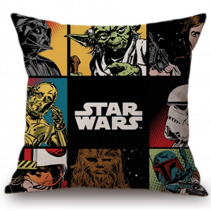 Modern Pop Art Star Wars  Pillow Case BB8 Princess Leia Yoda Darth Cushion Cover