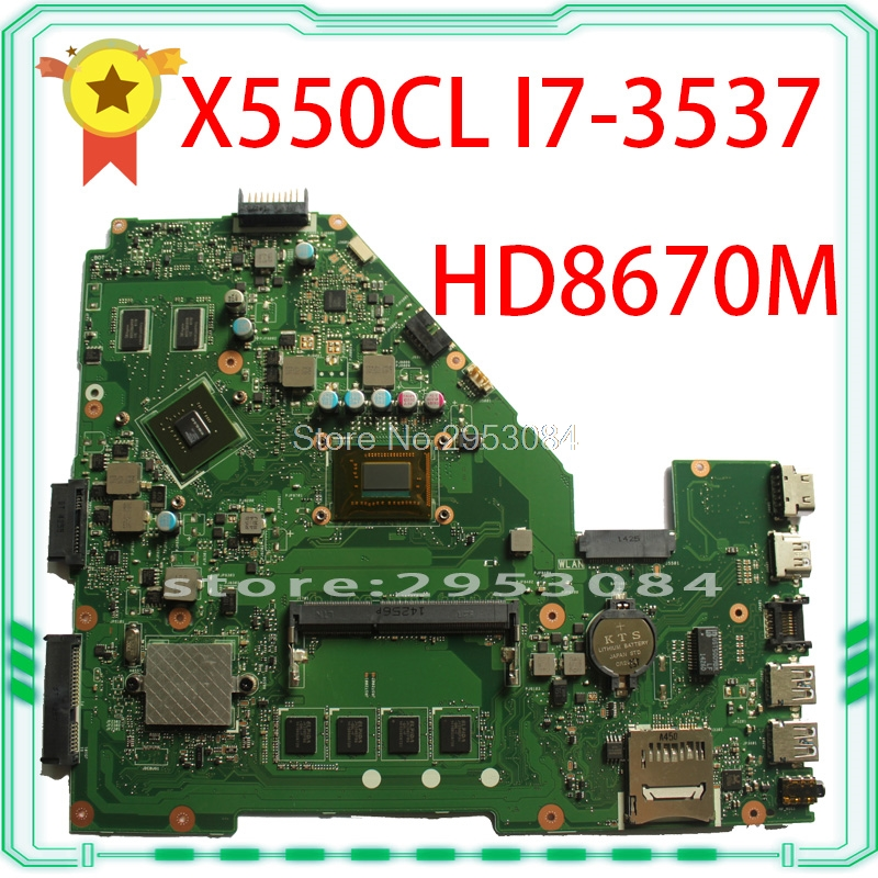 FOR ASUS F552CL X550VL motherboard X550CL REV2.1 Mainboard Radeon HD 8670M Graphic N14M GE S A2 i7 3537U 100% Fully tested S 4