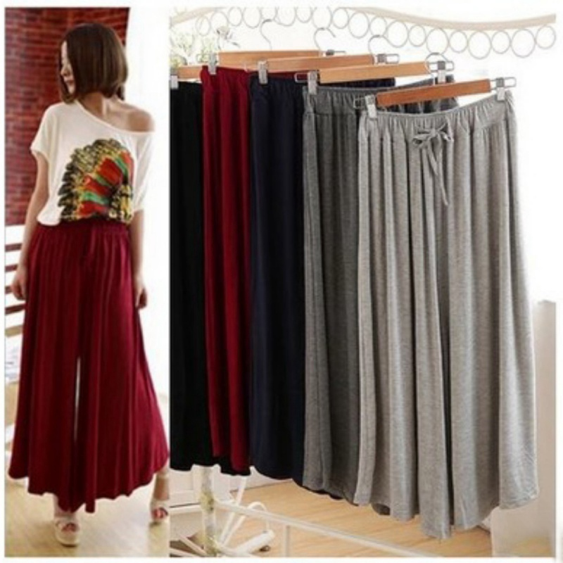 Fashion Modal   Wide     Leg     Pants   Women High Waist Plaid Solid Color Loose Palazzo   Pants   Autumn Spring Elegant Casual Ladies Trousers