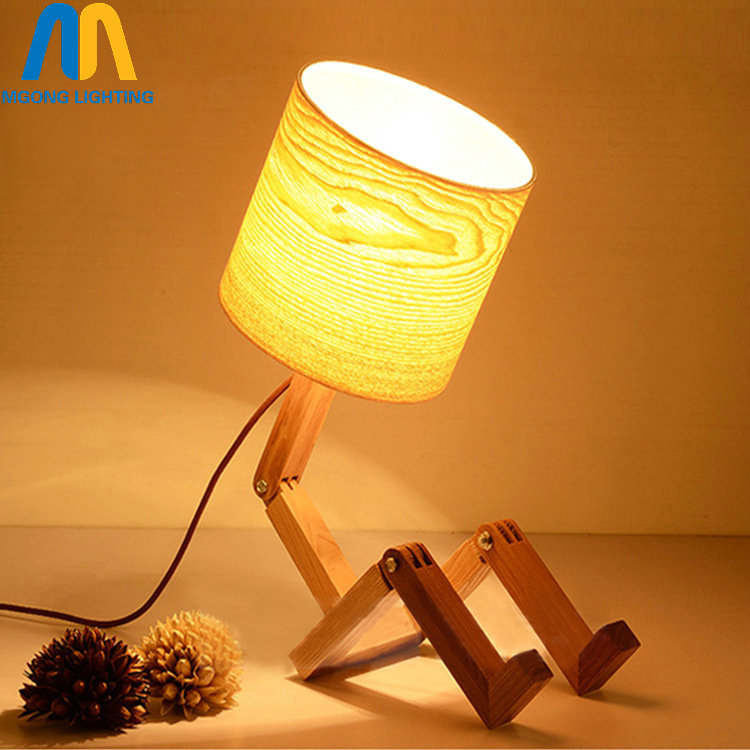 купить modern wood robot table lamps for living room bedside bedroom switch led desk vintage lights e27 110v 220v for decor по цене 3044.72 рублей