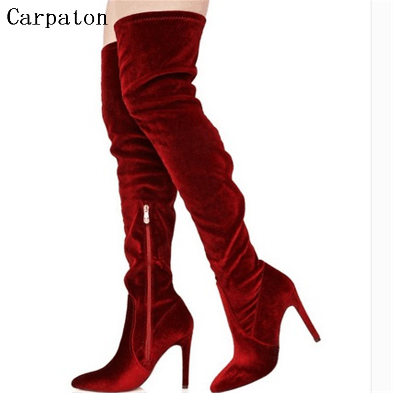 2017 Elegant Women Over-The-Knee Pointed Toe Boots Thin High Boot High Heel Gladiator Boots Women Party Long Boots qutaa 2017 women over the knee high boots all match pointed toe high quality thin high heel pointed toe women boots size 34 43