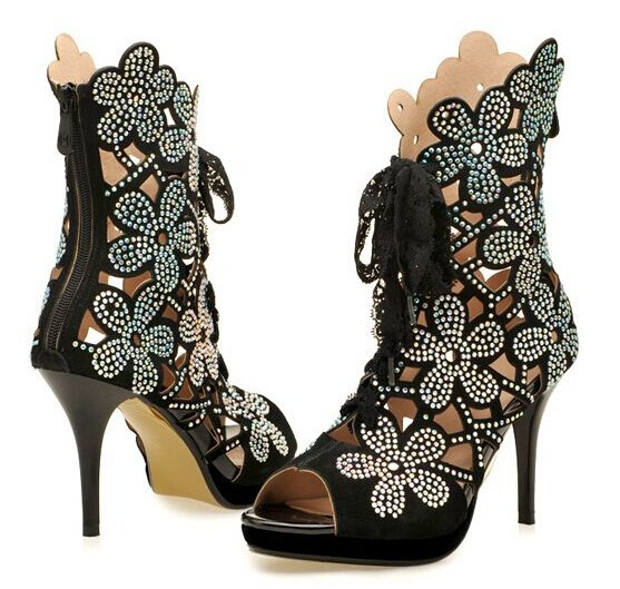 ФОТО 2015 new Arrival Ultra High Heels Hollow Cool Boots Women Genuine Leather summer Boot Zipper Flower Rhinestone Gladiator Sandals