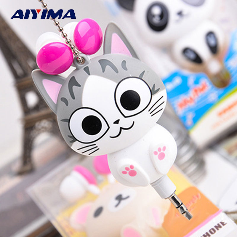 AIYIMA Cute Cat Cartoon Earphone 3,5 mm i örat infällbara barn hörlurar för mobiltelefon MP3 spelare