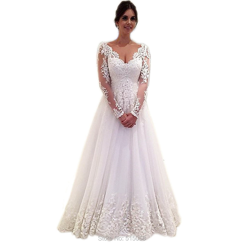 Romantic Lace Long Sleeves V Neck Open Back Tulle Wedding ... Lace Romantic Vintage Wedding Dresses With Sleeves