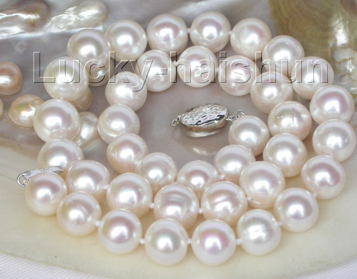 Livraison gratuite > > > > lustre naturel 12 mm blanc collier de perles 925ss fermoir