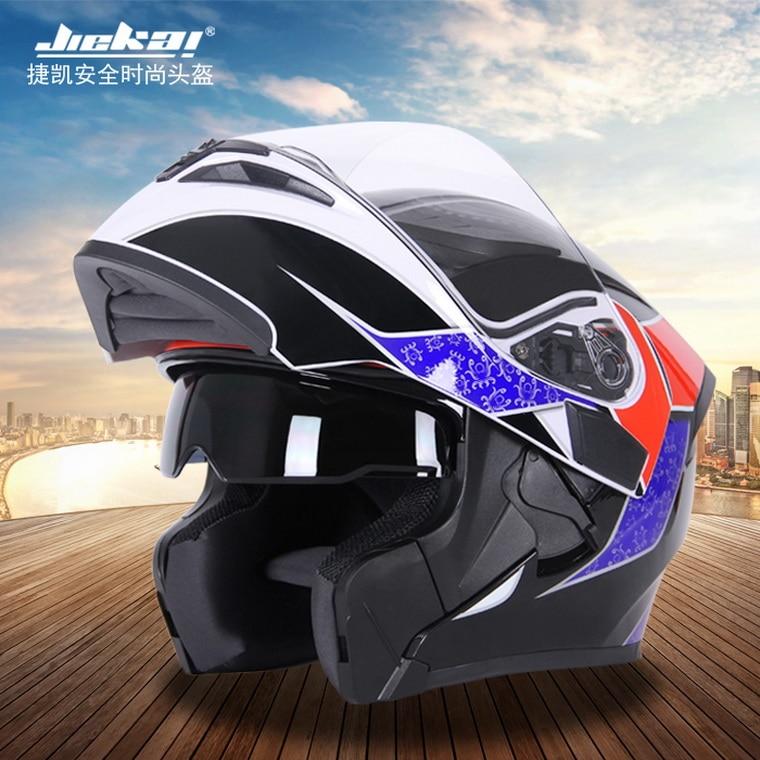 2016 winter warm JIEKAI undrape face motorcycle helmet ABS Open face double lens motorbike helmets model JK902 for Four seasons