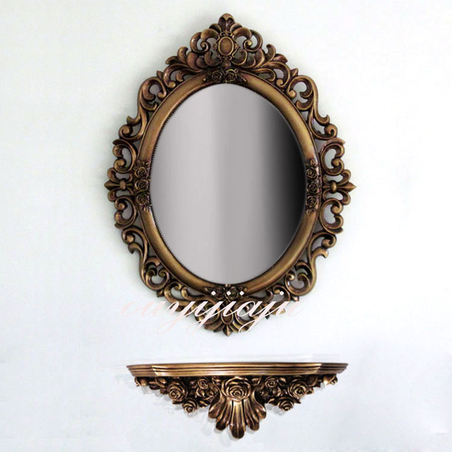 Large Decorative Cosmetic Antique Oval Wall Mirror With Frame Dressing Table Vintage Weddinggift Bathroom Royalstyle Homedecor