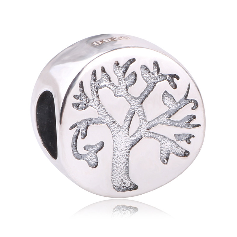 New Arrival Original 925 Sterling Silver Letter Tree of Life Charm Tree Beads Fits Pandora Charms Bracelet DIY Jewelry Making