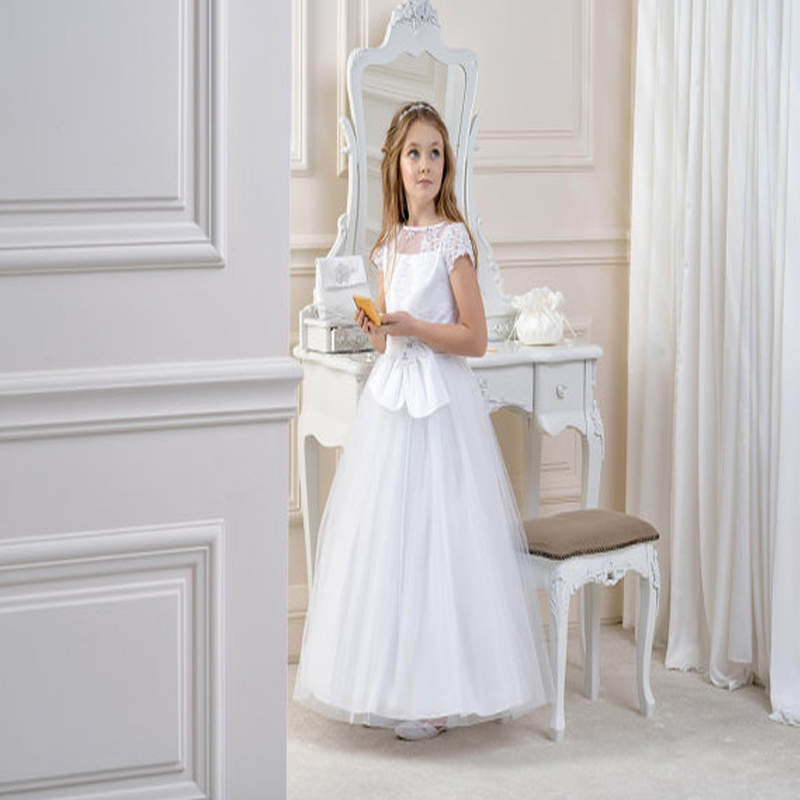 New Spring Pretty Flower Girls Dresses White Kids Beauty Pageant Dresses A-Line Mother Daughter Dresses Holy Communion Dresses white and ivory lace flower girls dresses for wedding a line spring pretty mother daughter dress tulle pageant dresses for girls
