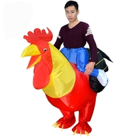 Inflatable Rider Halloween Costume Fancy Dress Red Rooster Cock Chook Chicken Funny Suit Mount