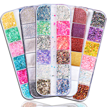 1 Case Nail Glitter Mermaid Powder Flakes Shiny Round Hexagon Holographic Paillette Sequins Decoration Manicure