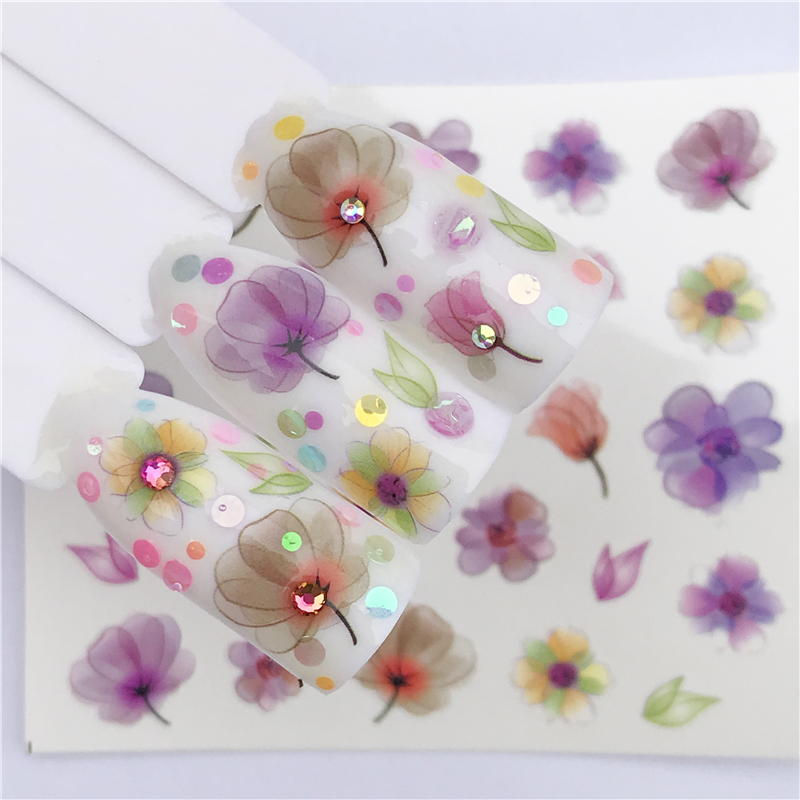 1 Sheet  Water Gradient Blossom Flower Sticker For Nails Wraps Butterfly Flower Vine Designs Nail Art Decals