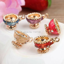 Free Shipping 10PCS/Lot 3D Enamel Drop Oil Metal Pendant Alloy Wine Cup Charms DIY Phone Chain Keyring Bracelet Necklace Charm