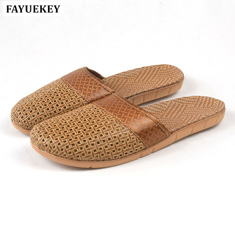 FAYUEKEY 18 New Fashion Summer Home Linen Cane Non-slip Breathable Slippers Men Indoor\Floor Beach Boys Slippers Slides Shoes щит эра эко щп 06
