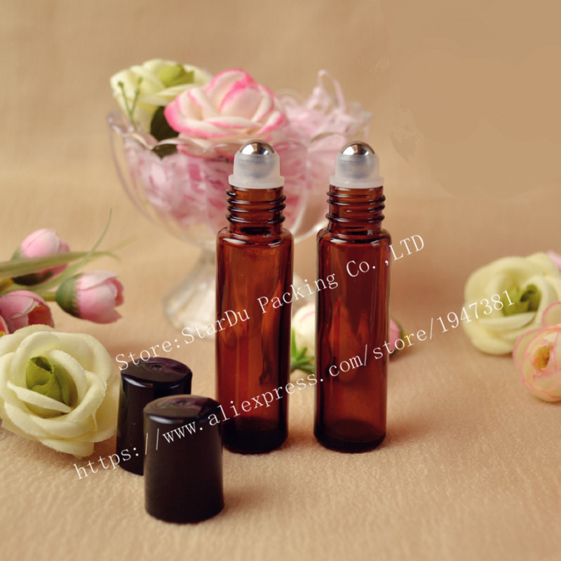 Free shipping 100 x 10ml Roll on perfume bottle, 10 ml clear essential oil roll on bottle, small glass roller container