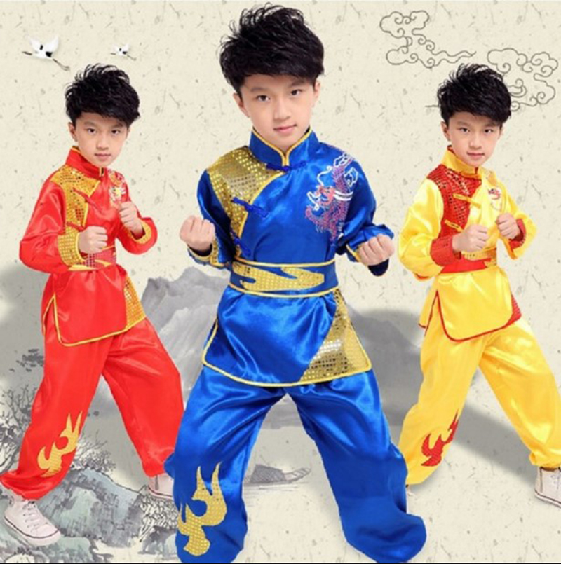 Chinese Costume Red Children Traditional Wushu Uniform Suit For Kids Kung Fu Girls Clothes Boy Dance Boys Girls Performance Set