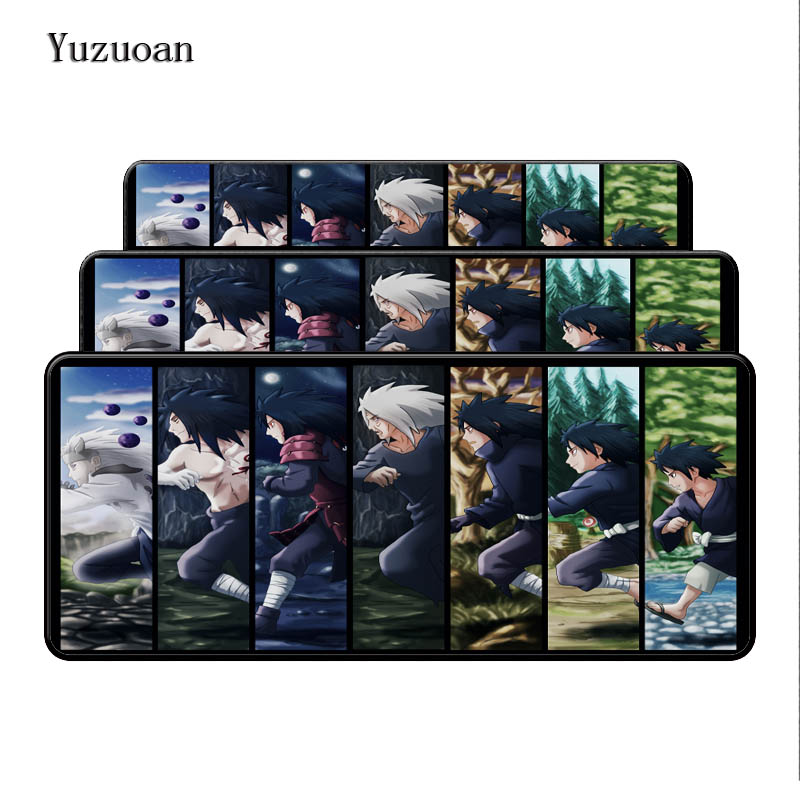 Yuzuoan Naruto Free Shipping keyboard Desk Gaming Mouse pad 900X400X4mm Large Lock Edges Soft/Rubber High quality Boy Gife