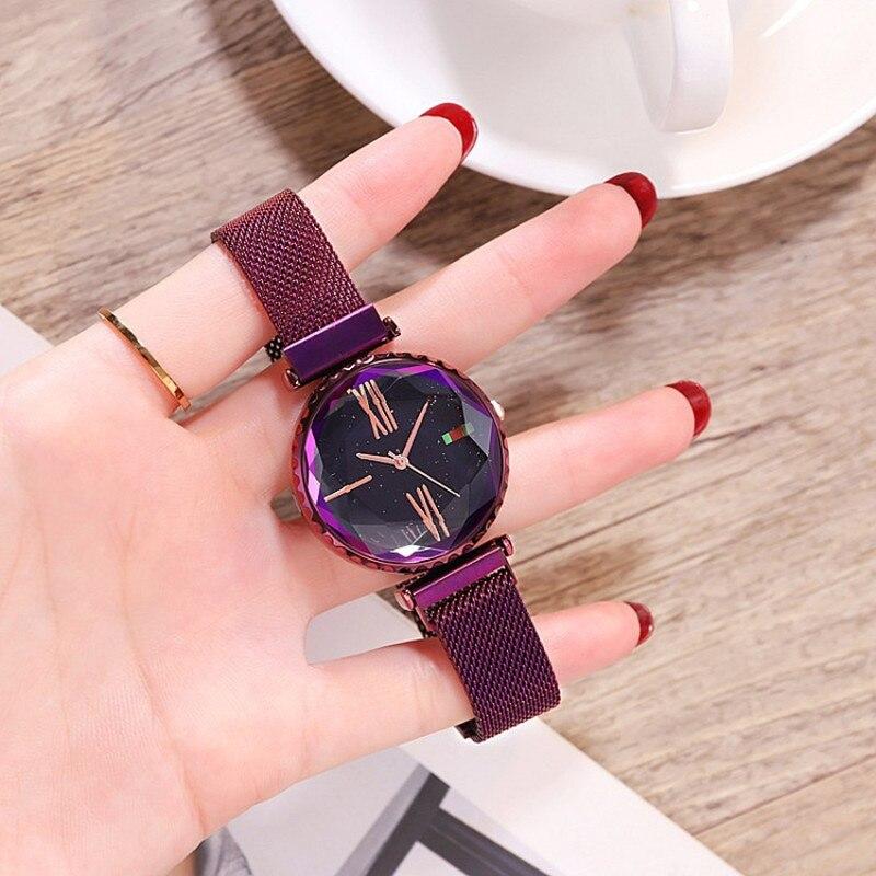b791c325a9f1 Top marca de lujo de las mujeres relojes mujer vestido reloj cristalino de  las señoras cuarzo Relojes Mujer Simple imán hebilla de pulsera